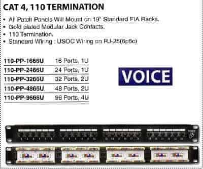 Pan Pacific 110 Pp 4866u Cat4 48 Port Voice Patch Panel Sacelec